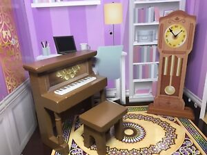 Barbie dollhouse furniture, piano set and the clock