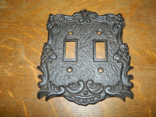 Rustic Cast Iron Ornate French Double Light Switch Outlet Plate Cover