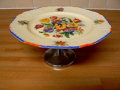 Vintage Coronet Ware Pedestal Floral Cake Stand - Parrot & Co Burslem