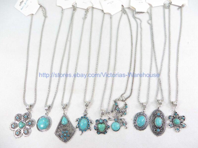 10 pieces turquoise pendant necklaces wholesale gemstone jewelry lot