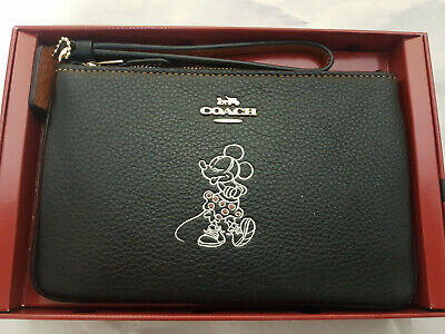 Disney X Coach Minnie Mouse Black Leather Wristlet Purse with Motif - New Boxed