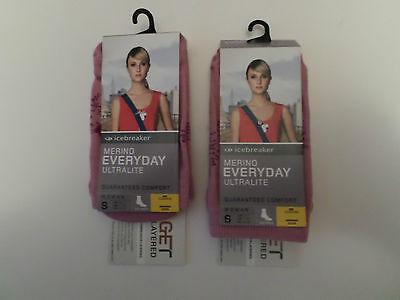 2 x Damen Icebreaker Merino Wolle Jeder Tag Socken klein 3-4/5 ultraleichten