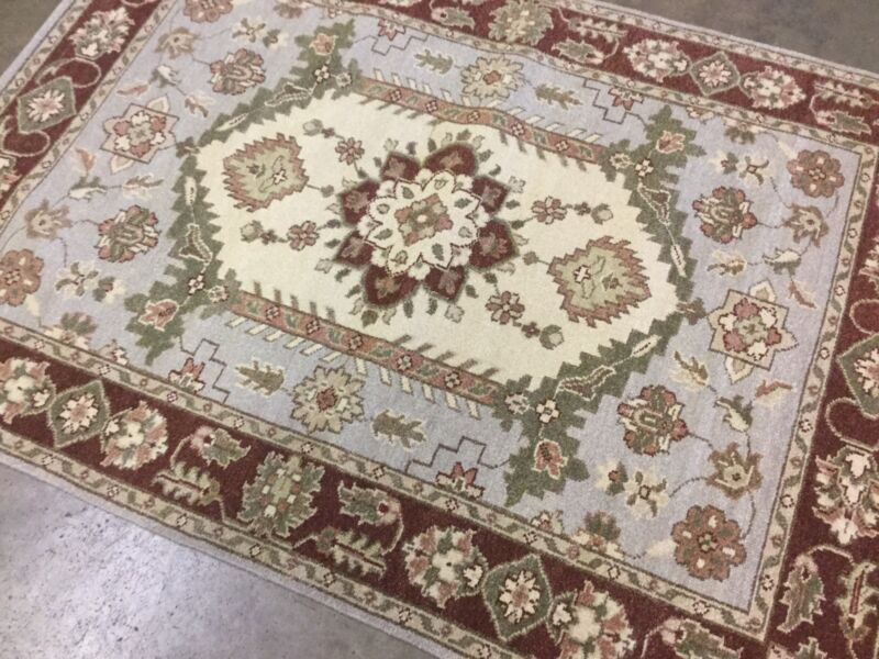 4 X 6 Beige Rust Ziegler Persian Oriental Area Rug Hand Knotted Geometric Wool