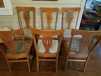 Set of 6 antique dining chairs - quartersawn tiger oak ()
