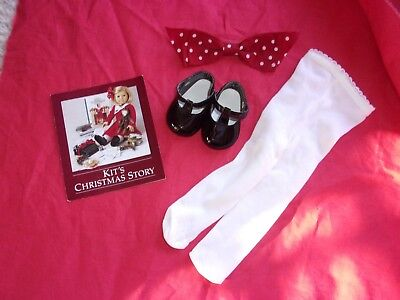 AMERICAN GIRL DOLL KIT'S CHRISTMAS OUTFIT ACCESSORIES 3 PIECES RETIRED