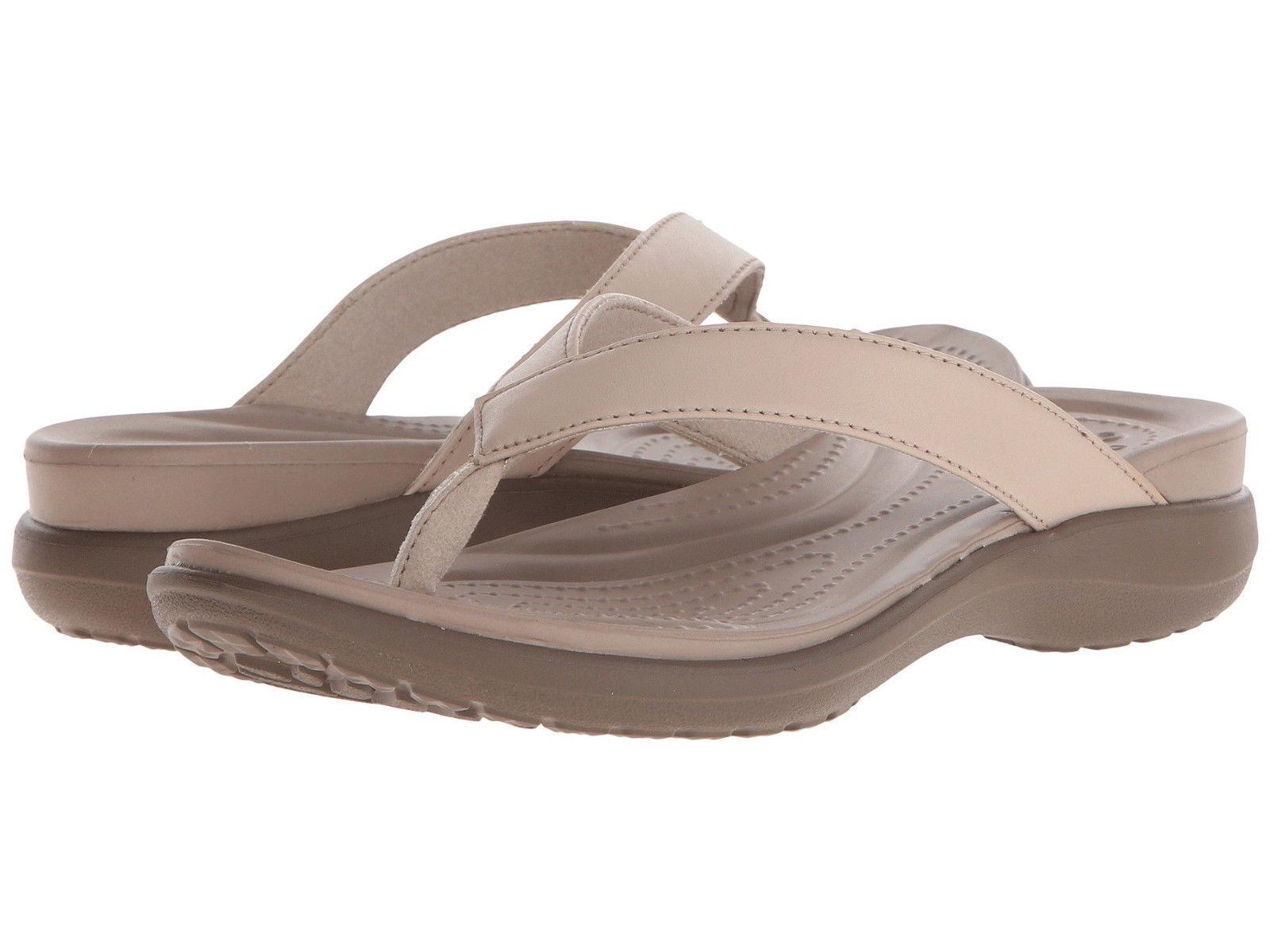 Women Crocs Capri V Flip Flop Sandal 202502-27L Chai Walnut 100% Authentic New