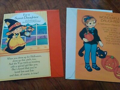 Lot of 2 Vintage NEW Unpunched Paper Doll Daughter Halloween Cards W/Envelopes - Halloween Paper Dolls