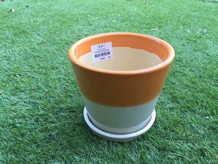 Dipped pot plant - Orange and White  Mosman Mosman Area Preview