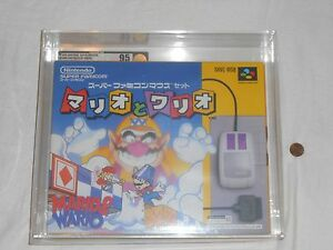 NEW-Mario-Wario-w-Mouse-Set-Super-Famicom-VGA-95-MINT-GOLD-SFC-SNES-Nintendo