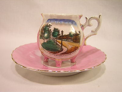 Germany Souvenir China KANSAS CITY, MISSOURI Pink Luster Cup & Saucer