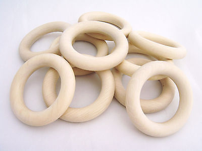 SALE Set of 10 Organic Wooden Teething Rings - 60mm. with Natural Imperfections