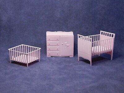 MPC Dollhouse Furniture, Vintage 1963 Nursery Crib Playpen Dresser, Pink Plastic