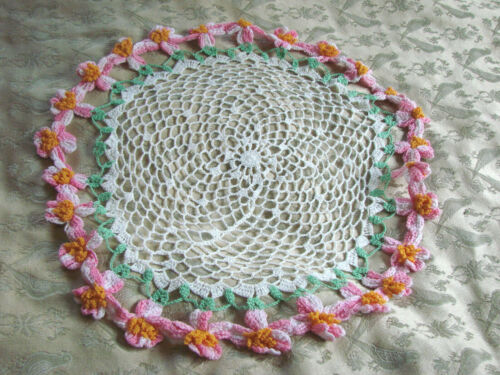 "Vintage PINK FLOWERS Crochet Doily Round 15"" Cotton Lace"