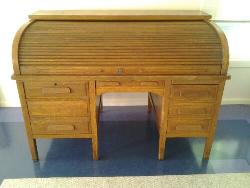 Large, Solid Wood, Roll Top Desk, originally used by US Treasury