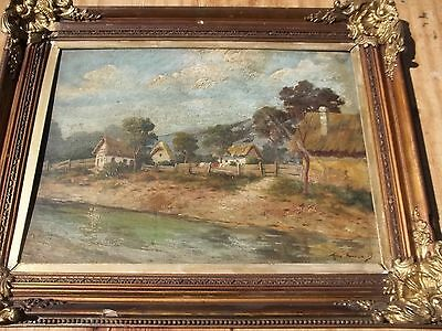 Antique French ? Impressionist Landcape Rural Farm Scene Painting Signed