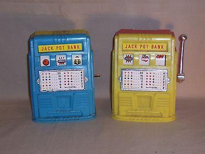 Blue Plastic Piggy Bank (Vintage Yellow and Blue Red Plastic Slot Machine Jack Pot Piggy Coin Bank Lot 2)