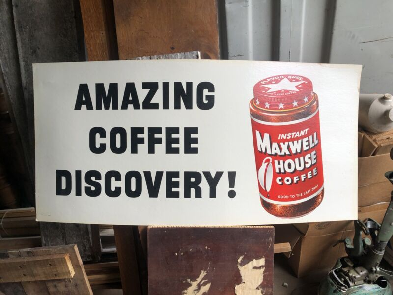 NOS Original Vintage AMAZING COFFEE DISCOVERY Instant Maxwell House Sign