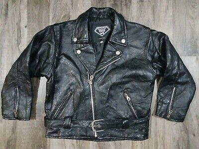Vintage Diamond Plate Buffalo Leather Motorcycle Jacket Jacket Black Womens 10 for sale  Shipping to India