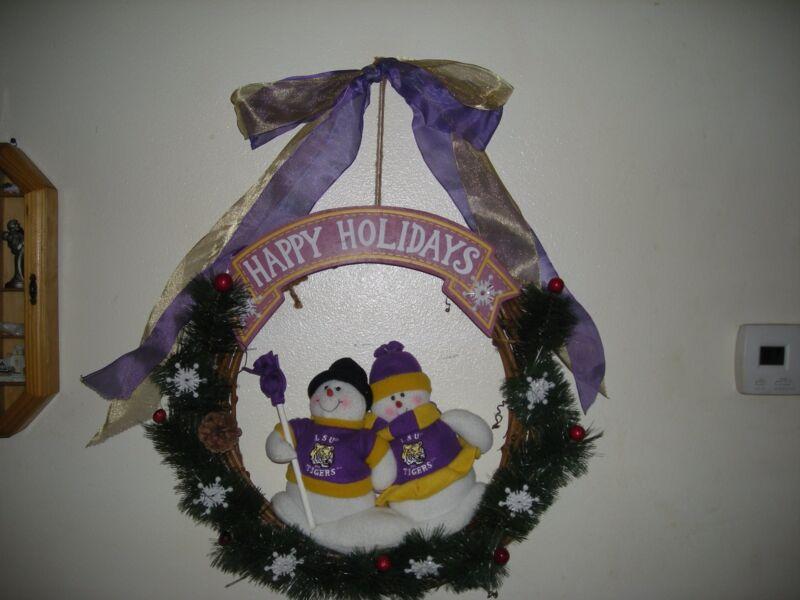 VINTAGE LSU TIGERS SNOWMAN HOLIDAY CHRISTMAS WREATH