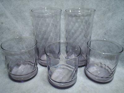 5 Libbey CAPRI HEATHER light purple / amethyst glasses ~~ 3 rocks & 2 coolers