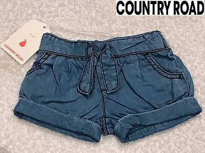 COUNTRY ROAD BABY GIRL CHAMBRAY LYOCELL SHORTS Denim Summer Size 000 00 RRP $40 ()
