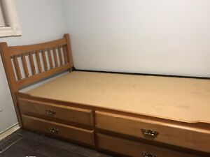 Two Kid's single beds with 4 drawers for $200