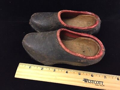 Vintage Child's Hand Made Leather And Wood Clogs