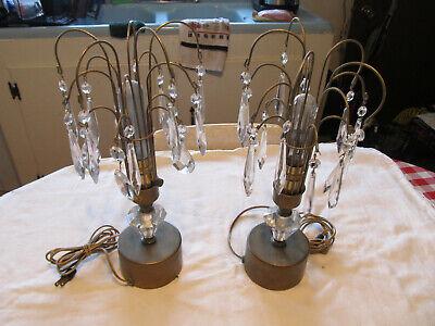 VINTAGE CRYSTAL PRISM LAMP PAIR WATERFALL ART DECO HOLLYWOOD REGENCY SET OF 2 - Hollywood Deco