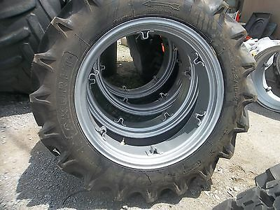 Two 11.2x28 11.2-28 8ply R1 Tractor Tires W 6 Loop Wheels