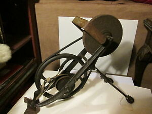 Vtg GRINDING STONE sharpening wheel  tool cast iron primitive