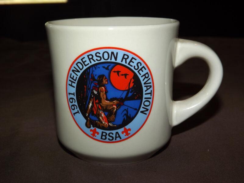 VINTAGE BSA BOY SCOUTS  COFFEE MUG 1991 HENDERSON RESERVATION