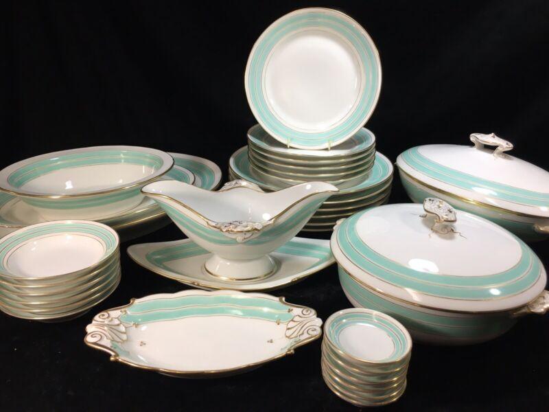 (32 Piece) Old Paris Porcelain by Haviland Seafoam/Aquamarine DINNER SET For 6