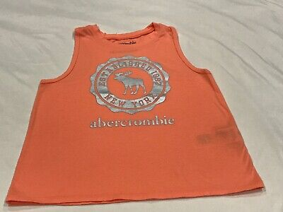 ABERCROMBIE KIDS GIRLS PEACH MOOSE SEAL TANK TOP SIZE 9/10