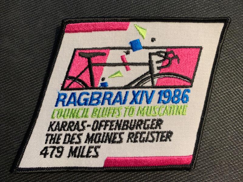 1986 RAGBRAI XIV Sew on Patch Des Moines Iowa Cycling Biking - Free Shipping