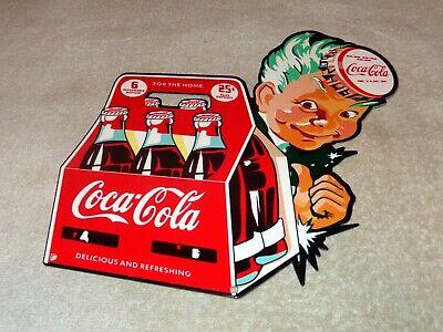 "VINTAGE DRINK COCA COLA IN BOTTLES 6 PACK SPRITE BOY 12"" METAL SODA POP GAS SIGN"