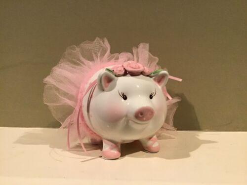 Mudpie Pink Pig in a Tutu Ceramic Piggy Bank