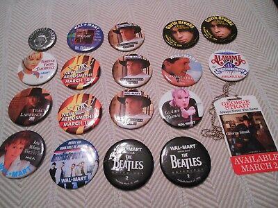 18 Walmart Employee Accessories Pins/Button Vintage Pinback, Country, Rock