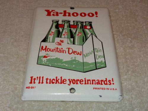 "VINTAGE YA-HOOO MOUNTAIN DEW +HILLBILLY 7"" PORCELAIN METAL SODA POP GAS OIL SIGN"