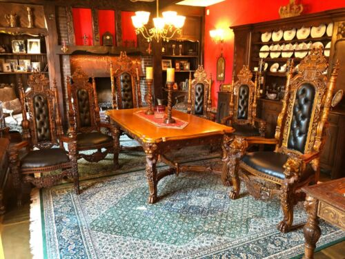 DINING TABLE CHAIRS RENAISSANCE CASTLE LIONS CARVED WOOD DINING SET
