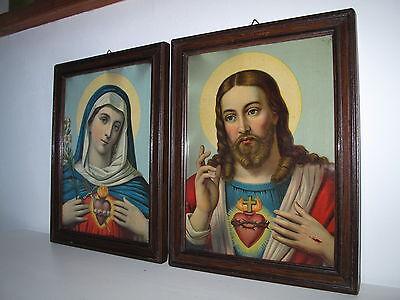 Antik 2x Heiligenbild Schutzbild Jesus + Maria, flammendes Herz Shabby Chic Bild