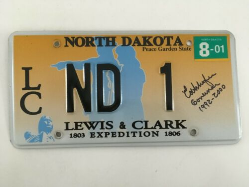 2001 North Dakota License Plate GOVERNOR Autographed Signed Low Number w/ Note!