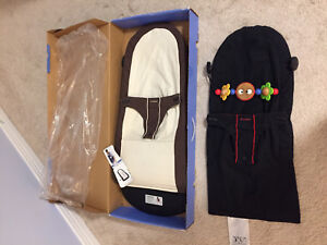 Baby bjorn bouncer, extra new seat cover, toy bar