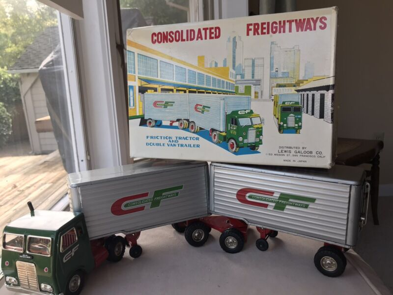 Vtg Consolidated Freightways Tin Friction Tractor & Double Van Trailer Box Japan