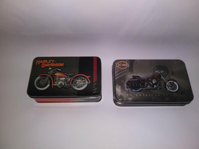Lot Of 2 Vtg  Harley Davidson 1997-1998 Playing Cards Tin Case 4 Decks