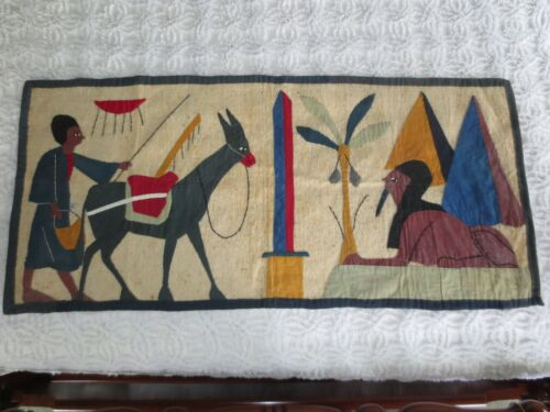 """Vintage EGYPTIAN ART APPLIQUE & EMBROIDERY Needlework TAPESTRY - 39"""" x 18 1/2"""""""