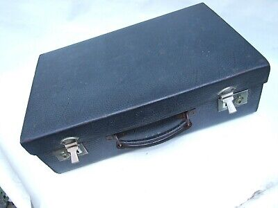 1920s Handbags, Purses, and Shopping Bag Styles Antique Leather  Navy Blue Suitcase with Compartments Brass Locks 1920's VGC  $150.86 AT vintagedancer.com