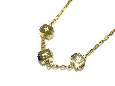 Auth LOUIS VUITTON Collier Gamble M66061 Gold  Brass Swarovski GL0142