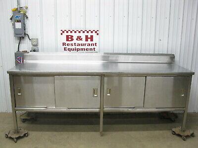 96 X 30 Heavy Duty Stainless Steel 4 Door Kitchen Cabinet Work Prep Table 8