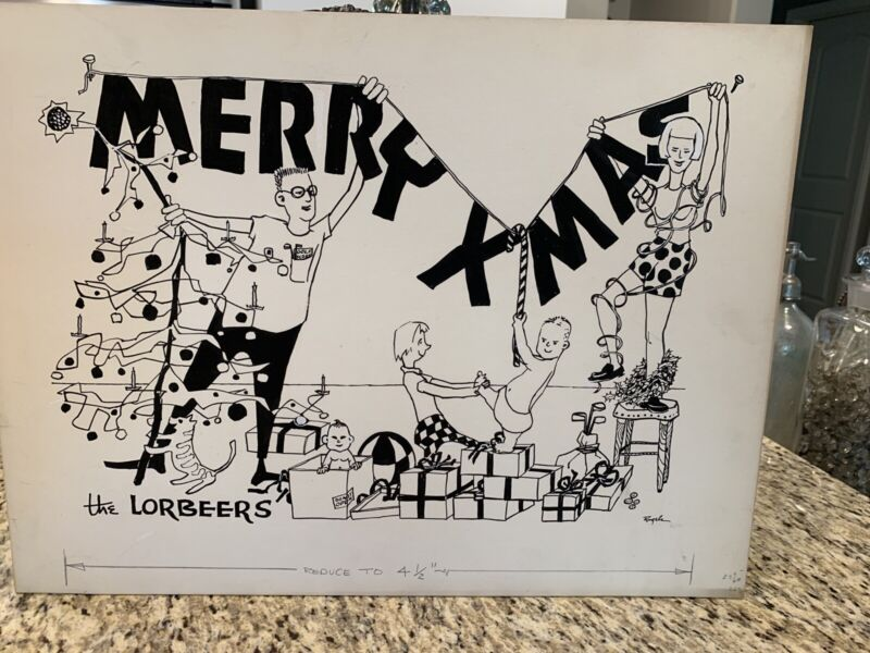 "VTG Kitschy 1950s Original Artwork Christmas Card Art Poster 20"" x 15""   #N"