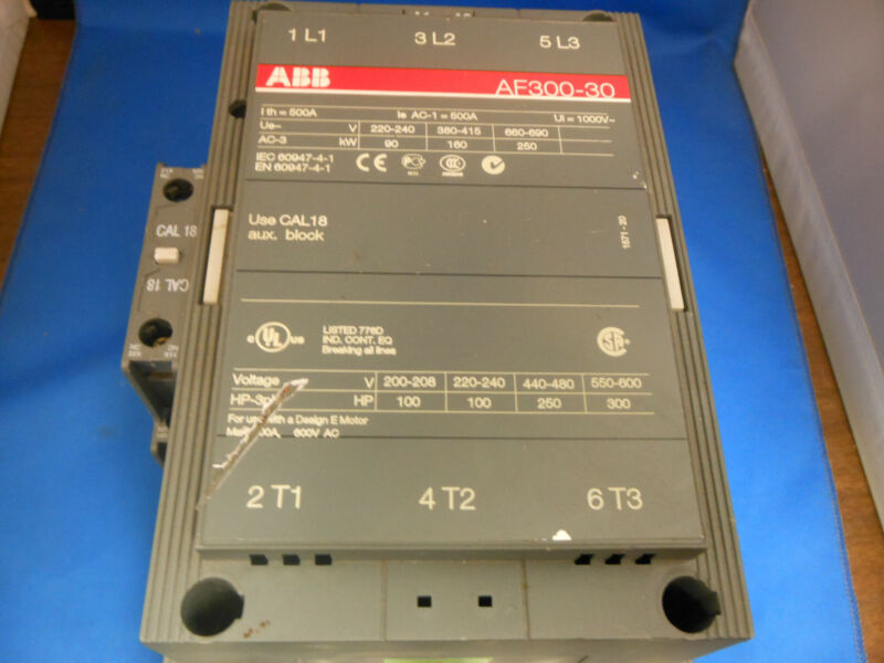 ABB ASEA BROWN BOVERI AF300-30 CONTACTOR 500AMP 3POLE 24 TO 60 VDC COIL